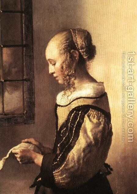 Girl Reading a Letter at an Open Window (detail-1) 1657 by Jan Vermeer Van Delft - Reproduction Oil Painting