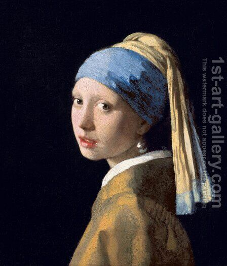Girl with a Pearl Earring c. 1665 by Jan Vermeer Van Delft - Reproduction Oil Painting