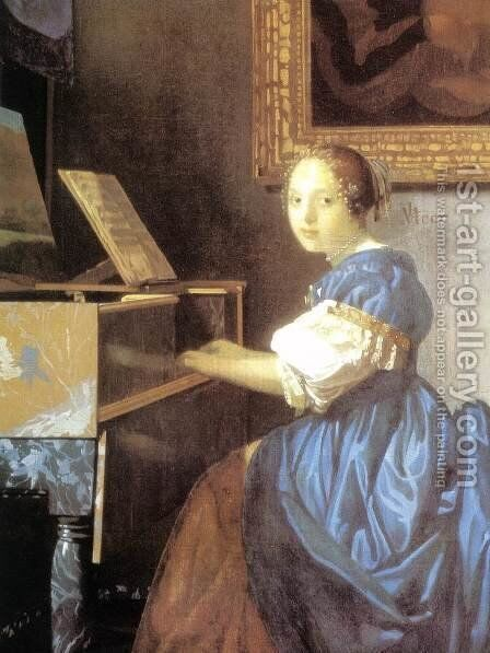 Lady Seated at a Virginal (detail) c. 1673 by Jan Vermeer Van Delft - Reproduction Oil Painting