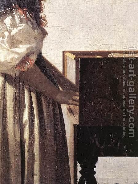 Lady Standing at a Virginal (detail-2) c. 1670 by Jan Vermeer Van Delft - Reproduction Oil Painting