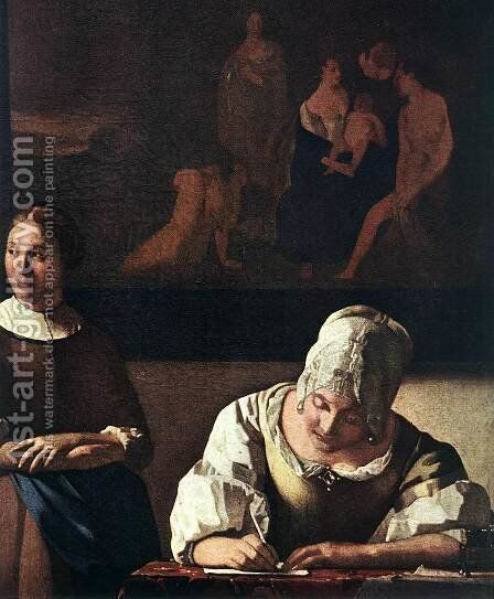 Lady Writing a Letter with Her Maid (detail-1) c. 1670 by Jan Vermeer Van Delft - Reproduction Oil Painting