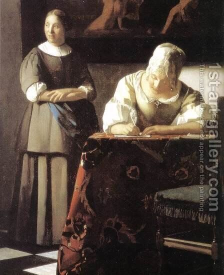 Lady Writing a Letter with Her Maid (detail-2) c. 1670 by Jan Vermeer Van Delft - Reproduction Oil Painting