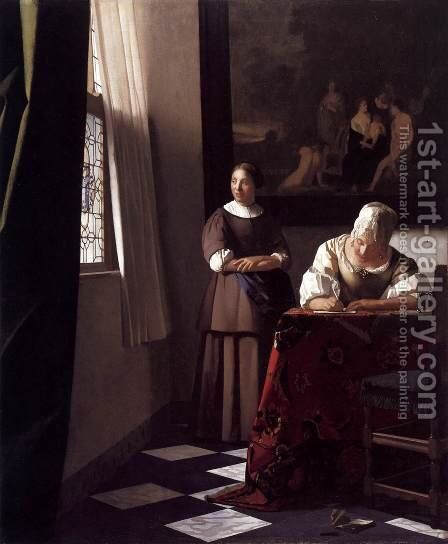Lady Writing a Letter with Her Maid c. 1670 by Jan Vermeer Van Delft - Reproduction Oil Painting