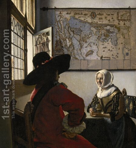 Officer with a Laughing Girl c. 1657 by Jan Vermeer Van Delft - Reproduction Oil Painting