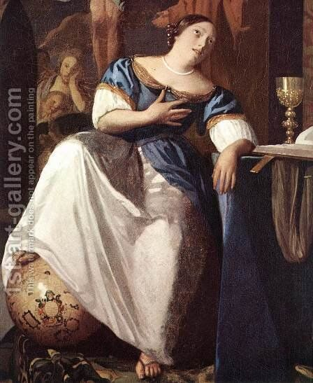 The Allegory of Faith (detail-1) 1671-74 by Jan Vermeer Van Delft - Reproduction Oil Painting