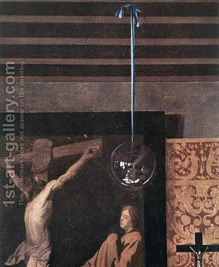 The Allegory of Faith (detail-2) 1671-74 by Jan Vermeer Van Delft - Reproduction Oil Painting