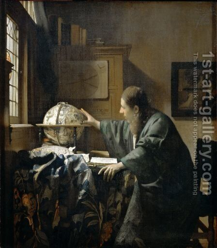 The Astronomer c. 1668 by Jan Vermeer Van Delft - Reproduction Oil Painting