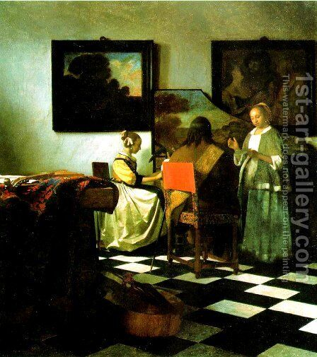 The Concert 1665-66 by Jan Vermeer Van Delft - Reproduction Oil Painting