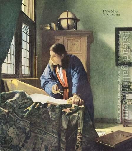 The Geographer c. 1668 by Jan Vermeer Van Delft - Reproduction Oil Painting