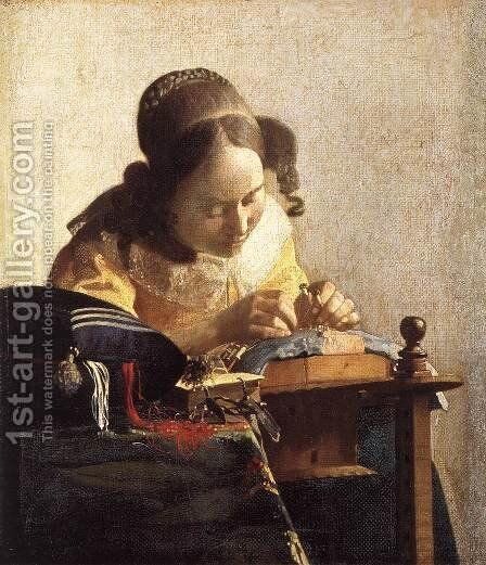 The Lacemaker 1669-70 by Jan Vermeer Van Delft - Reproduction Oil Painting