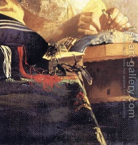 The Lacemaker (detail-2) 1669-70 by Jan Vermeer Van Delft - Reproduction Oil Painting