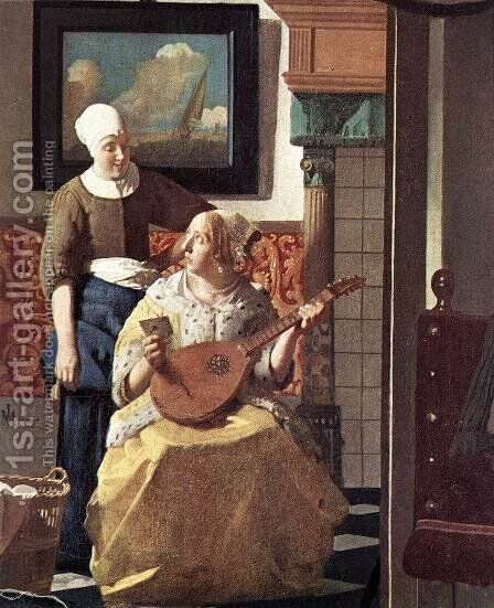The Love Letter (detail-1) 1667-68 by Jan Vermeer Van Delft - Reproduction Oil Painting