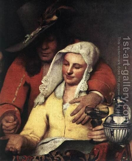The Procuress (detail-1) 1656 by Jan Vermeer Van Delft - Reproduction Oil Painting