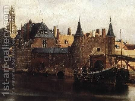 View of Delft (detail-1) 1659-60 by Jan Vermeer Van Delft - Reproduction Oil Painting