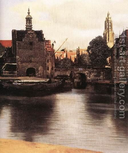 View of Delft (detail-3) 1659-60 by Jan Vermeer Van Delft - Reproduction Oil Painting