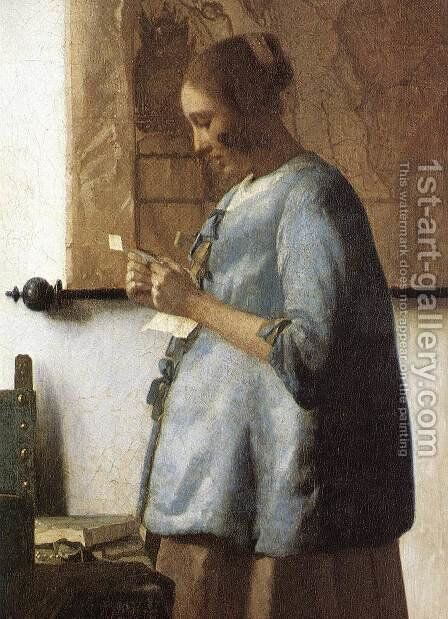 Woman in Blue Reading a Letter (detail) 1663-64 by Jan Vermeer Van Delft - Reproduction Oil Painting