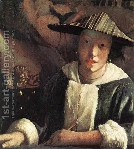 Young Girl with a Flute 1666-67 by Jan Vermeer Van Delft - Reproduction Oil Painting