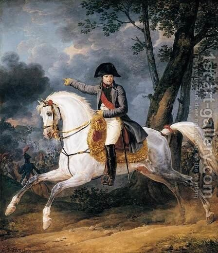 Equestrian Portrait of of Emperor Napoleon I, 1805-10 by Carle Vernet - Reproduction Oil Painting