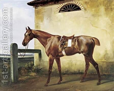 A Saddled Race Horse Tied to a Fence 1828 by Horace Vernet - Reproduction Oil Painting
