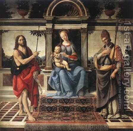Madonna with Sts John the Baptist and Donatus 1475-83 by Andrea Del Verrocchio - Reproduction Oil Painting
