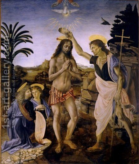 The Baptism of Christ 1472-75 by Andrea Del Verrocchio - Reproduction Oil Painting