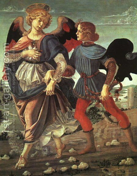 Tobias and the Angel 1470-80 by Andrea Del Verrocchio - Reproduction Oil Painting