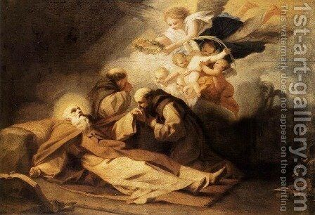 The Death of St Anthony the Hermit by Antonio Viladomat Y Manalt - Reproduction Oil Painting