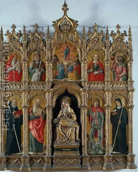 Altarpiece 1485 by Bartolomeo Vivarini - Reproduction Oil Painting