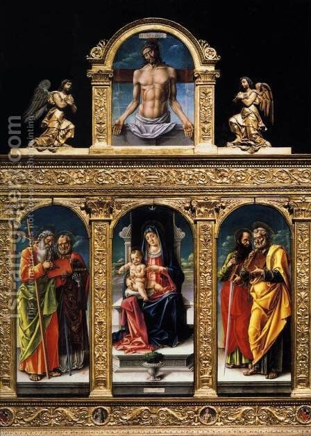 Virgin Enthroned with the Child on her Knee (polyptych) 1482 by Bartolomeo Vivarini - Reproduction Oil Painting
