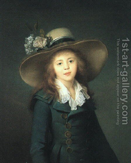 Portrait of Baroness Stroganova 1781-82 by Jean-Louis Voille - Reproduction Oil Painting