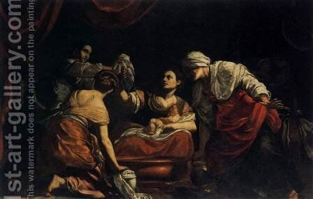 Birth of the Virgin c. 1620 by Simon Vouet - Reproduction Oil Painting