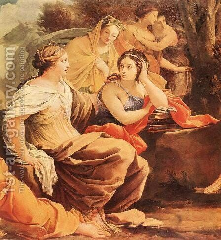 Parnassus or Apollo and the Muses (detail-2) c. 1640 by Simon Vouet - Reproduction Oil Painting