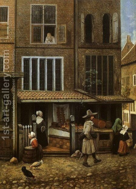 Street Scene with Bakery by Jacobus Vrel - Reproduction Oil Painting