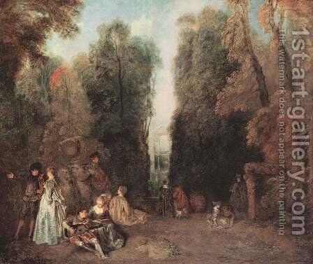 La Perspective (View through the Trees in the Park of Pierre Crozat) c. 1715 by Jean-Antoine Watteau - Reproduction Oil Painting
