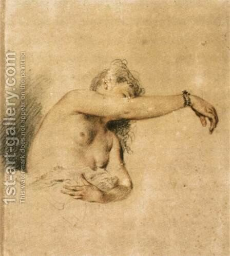 Nude with Right Arm Raised 1717-18 by Jean-Antoine Watteau - Reproduction Oil Painting