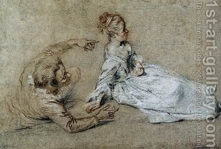 Sitting Couple c. 1716 by Jean-Antoine Watteau - Reproduction Oil Painting