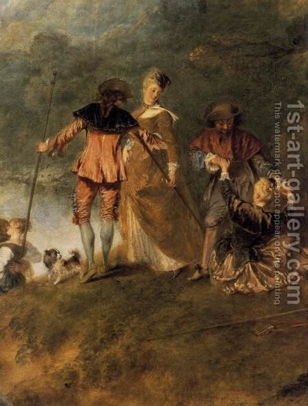 The Embarkation for Cythera (detail) 1717 by Jean-Antoine Watteau - Reproduction Oil Painting