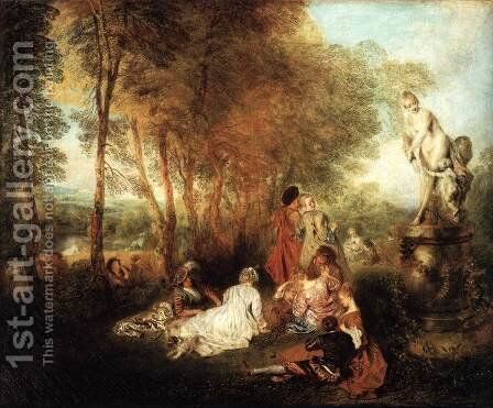 The Festival of Love c. 1717 by Jean-Antoine Watteau - Reproduction Oil Painting