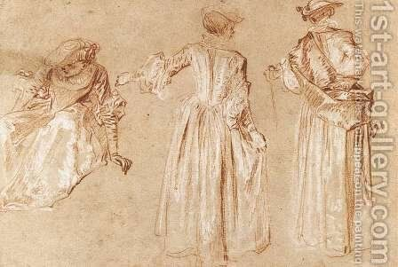 Three Studies of a Lady with a Hat c. 1715 by Jean-Antoine Watteau - Reproduction Oil Painting
