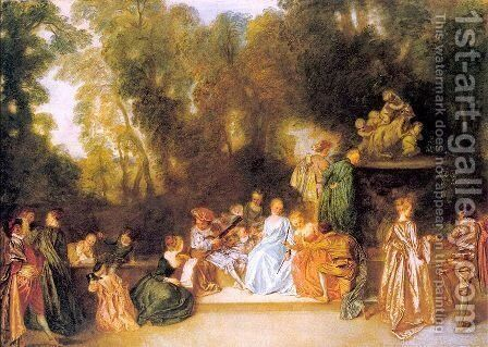 Entertainment in the Open Air 1721 by Jean-Antoine Watteau - Reproduction Oil Painting