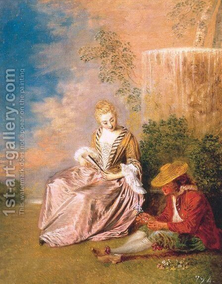 The Anxious Lover 1719 by Jean-Antoine Watteau - Reproduction Oil Painting