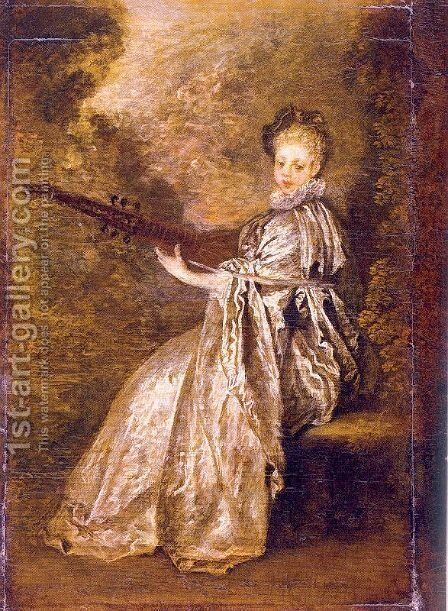 The Artful Girl 1717 by Jean-Antoine Watteau - Reproduction Oil Painting