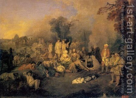 The Bivouac 1710 by Jean-Antoine Watteau - Reproduction Oil Painting