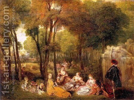 The Champs-Elysees 1719 by Jean-Antoine Watteau - Reproduction Oil Painting
