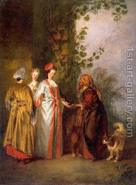 The Fortune Tellers 1710 by Jean-Antoine Watteau - Reproduction Oil Painting