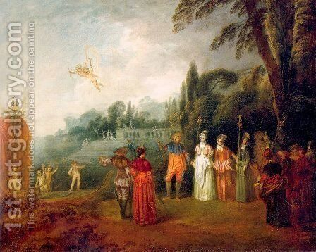 The Island of Cythera 1709 by Jean-Antoine Watteau - Reproduction Oil Painting