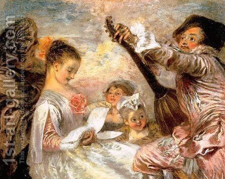 The Music Lesson 1719 by Jean-Antoine Watteau - Reproduction Oil Painting