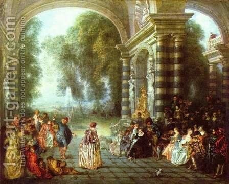 The Pleasures of the Ball 1717 by Jean-Antoine Watteau - Reproduction Oil Painting