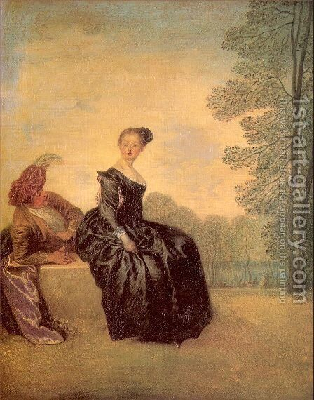 The Sulky Woman 1719 by Jean-Antoine Watteau - Reproduction Oil Painting