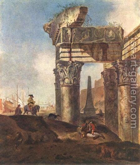 Ancient Ruins by Jan Baptist Weenix - Reproduction Oil Painting